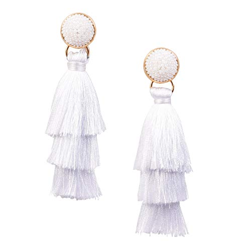 RIVERTREE Layered Tassel Earring Beaded Statement Fringe | White 3 Tiered Long Vintage Chandelier Drop Dangle Earring For Women