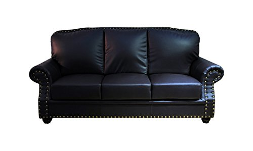 Greatime Bonded Leather Sofa, Black