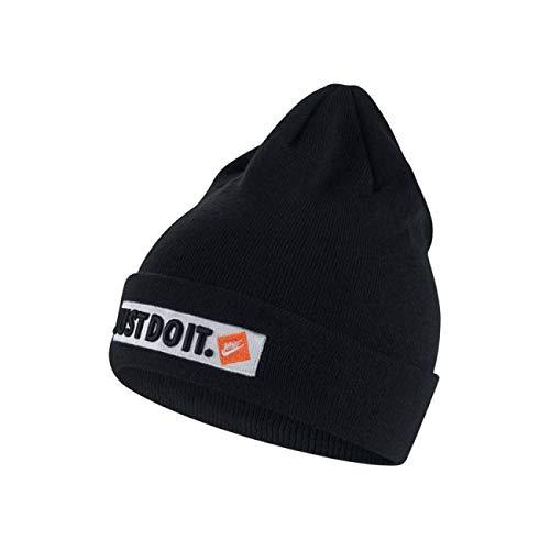Nike Sportswear Unisex Just Do It JDI Knit Beanie (One Size, Black/White) (Nike Plain Cap)