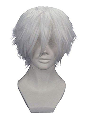 Anogol Hair Cap + Silver White Men's Short Straight Costume Party Cosplay Wig -