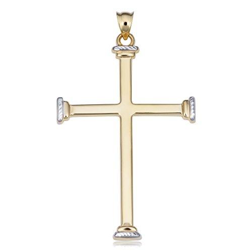 Kooljewelry Men's or Women's 14k Two-tone Gold Cross Pendant, 1.85 inch