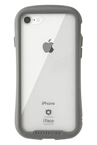 iFace Reflection iPhone8/7 ケース クリア 強化ガラス [グレー]