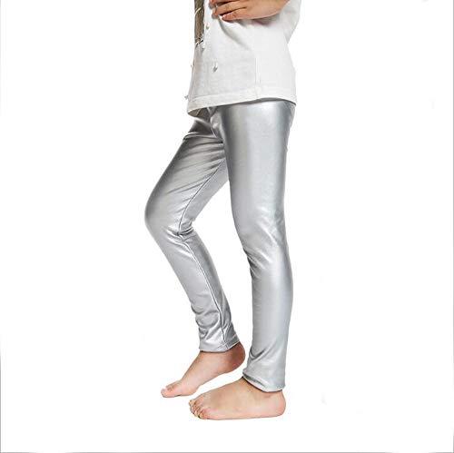 d5f73ddbb441d Fitcat Kids Toddler Girls Faux Leather Pants Shiny Strech Leggings Tights (Metallic  Silver, 3T)