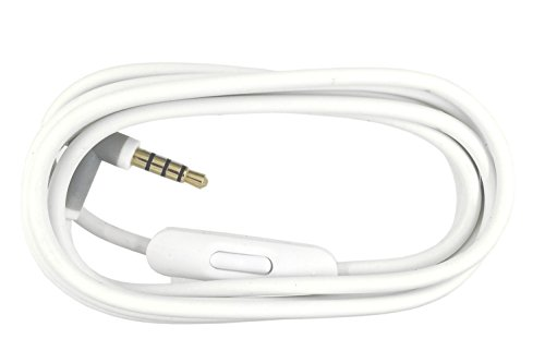 Replacement Audio Cable Cord Wire with In-line Microphone and Control For Beats by Dr Dre Headphones Solo/Studio/Pro/Detox/Wireless/Mixr/Executive/Pill (White)
