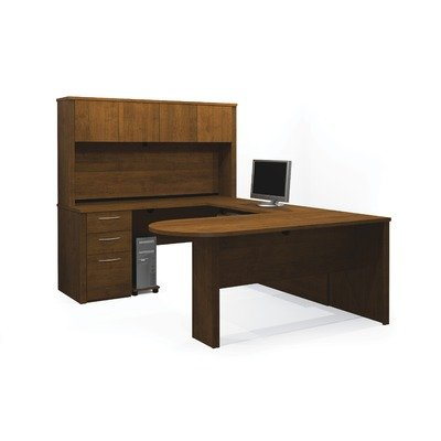 Embassy U-shaped Workstation with Hutch in Tuscany Brown