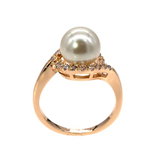 (8 mm Pearl Ring AAA CZ Micro Pave Size 5-10 Wedding Jewelry (Gold, 7))