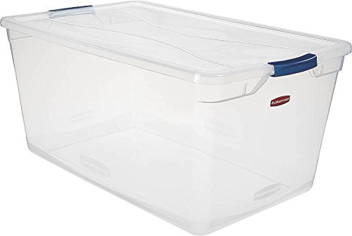 Rubbermaid Clever Store Latching Storage Tote Container, 95-Quart, Clear