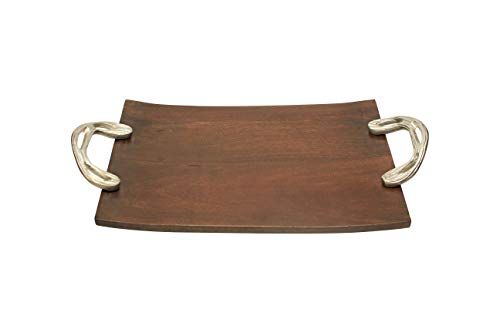 """Amber Home Goods Wooden Tray Platter For Serving Food Drinks Coffee or Dinner For Family or Guests 15""""x10""""x.5"""""""