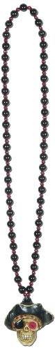 Beads w/Flashing Pirate Skull Medallion (internet friendly) Party Accessory  (1 count) ()