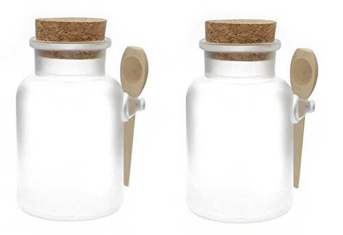 2PCS Clear Empty ABS Plastic Bath Salt Comestic Powder Bottl