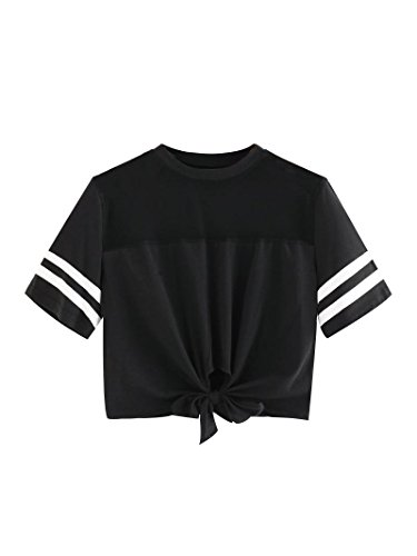 SweatyRocks Women's Sheer Mesh Knot Crop Tee Tops Striped Short Sleeve Summer T-Shirt Blouse black Mesh (Ladies Mesh Knit Pant)