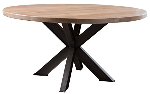 Round Industrial Steel X Pedestal Table (60