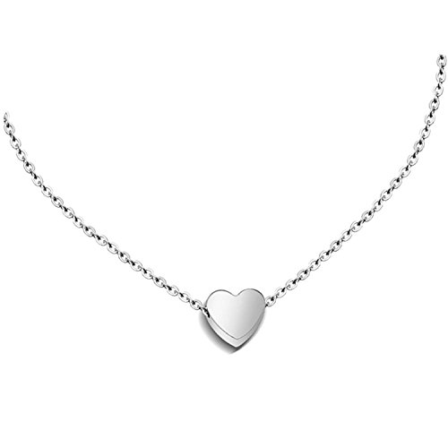 Zen Styles Women's High-Polished Silver Plated Mini Floating Heart Pendant Necklace with Lobster Clasp Closure, Adjustable 16