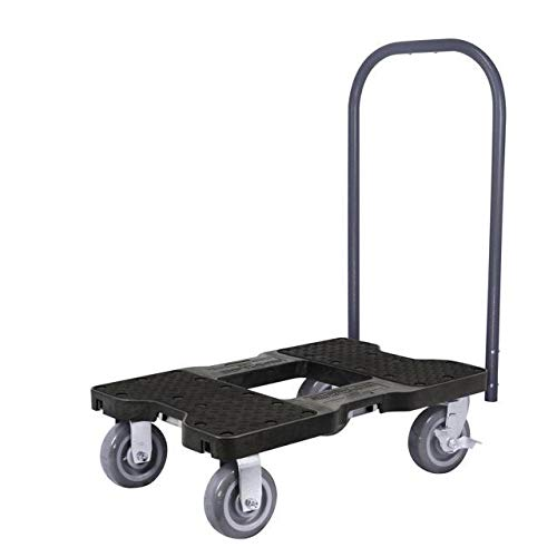 SL1800P6B Snap-Loc 1800 Lb Super-Duty Professional E-Track Push Cart Dolly Black Safely Moves More In Less Time With Easy Rolling Casters Removeable Push Bar And Optional E-Strap Safety Attachment