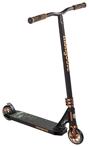 (Mongoose Rise 110 Expert Freestyle Stunt Kick Scooter, Featuring Lightweight Alloy Deck with Full-Coverage Max Grip and Bike-Style Handlebars, 110mm Alloy Wheels, Black/Tan (Renewed))