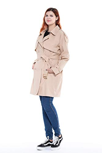 The Plus Project Ladies Womens Spring Open Blend Double Breasted Mid Long Trench Pea Coat with Belt Stone 4X-Large