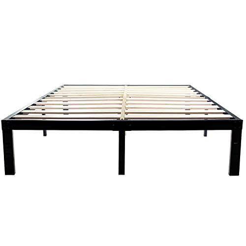 14 Inch Metal Platform Bed Frames Wood Slat Support No Box Spring Needed 3500 lbs Heavy Duty Noise Free With storage Black Finish Queen