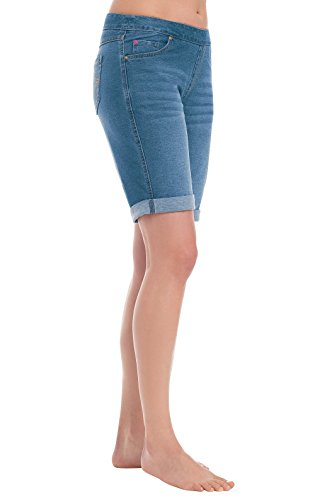 PajamaJeans Women's Soft Stretch Denim Shorts, Bermuda Wash, MD 8-10 - Cotton Denim Jeans Shorts