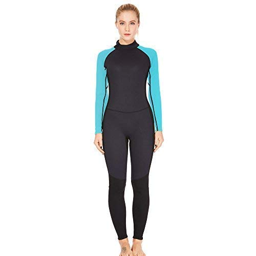 Dark Lightning 3/2mm Wetsuit Women, Womens Wetsuit Long Sleeve Full Suit Premium Neoprene Womens Suit Scuba Diving/Surf/Canoe, Jumpersuit (Blue 3/2, S)