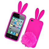 Bunny Skin Case With Furry Tail for Apple iPhone 4 (Verizon & AT&T), Hot Pink