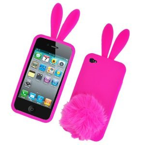 Bunny Skin Case - Bunny Skin Case With Furry Tail for Apple iPhone 4 (Verizon & AT&T), Hot Pink‏