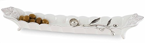(Mud Pie 4104002 Fleur de Lis Olive Boat and Spoon Set, White)