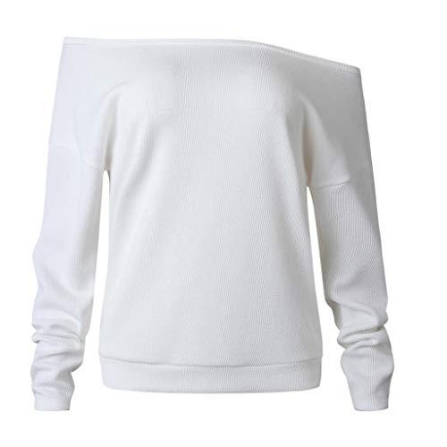 Tops Blouse Col sans Pull Longues Blanc Solike Shirt Bretelle Shirts Bateau Tricot Option Manches Pullover 5 Femme Chic Chemise T Sweatshirt Couleurs en ZInwqxwdS