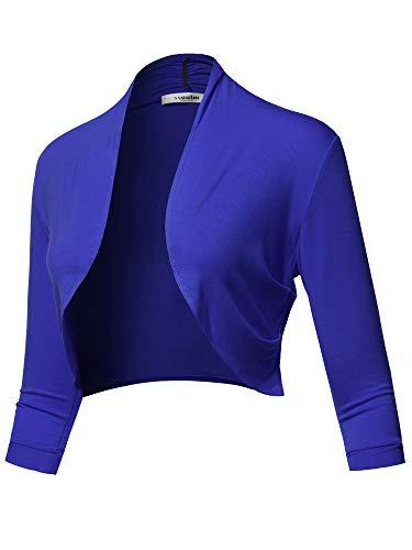 SSOULM Women's 3/4 Sleeve Open Front Bolero Shrug Cardigan Royal M