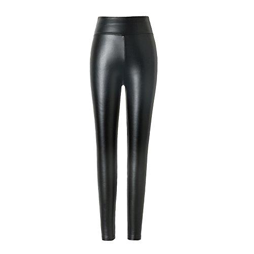 hitueu Damen Kunstleder Leggings High Waist Leggings Hose Strumpfhosen Treggins Leggins Kunstleder Leggings Leder Look hüfthoch