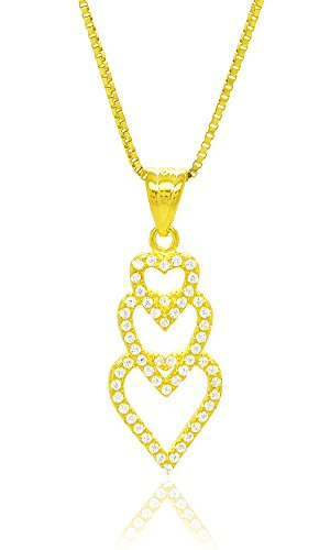Cubic Zirconia Open Heart Pendant (Sterling Silver 18k Gold Flashed Cubic Zirconia Pave Interlocked Open Heart Charm Pendant Necklace,)