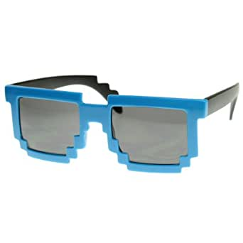 zeroUV - Retro Novelty Nerd Geek Gamer Colorful 2-Tone Pixel Glasses (Blue)