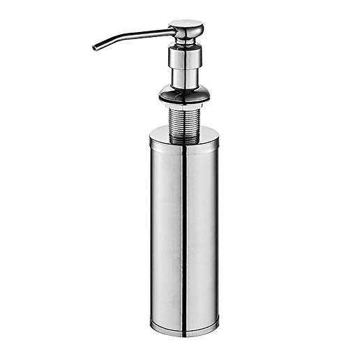 ESOW Kitchen Sink Soap Dispenser, Built in Hand Soap Dispenser Pump in SUS304 Stainless Steel Chrome Finish with High-capacity Metal Bottle, Deck Mount Installation and Refill from the Top Dish ()
