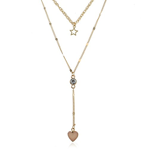 JSEA Womens Double Layer Chain Gold Necklace Simulated Druzy Stone Heart Star Pendant