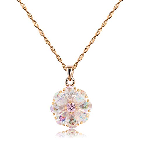 CZCITY-Rose-Gold-Pendant-Necklaces-for-Women-Gold-Necklace-18K-Rose-Gold-Plated-Colorful-Flower-Necklaces-Chain-125CT-Best-for-Girls-Gifts-and-Daily-Wear202-Ext-