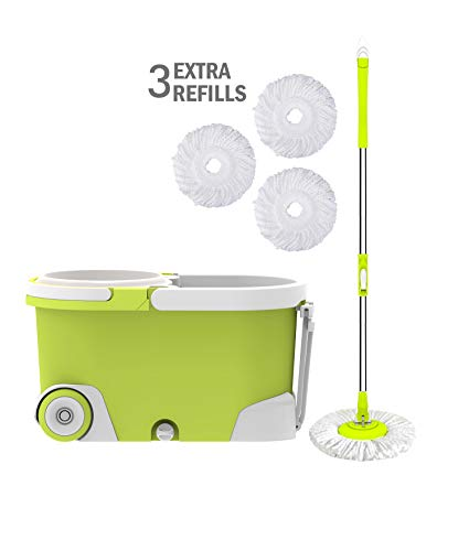 (ALLZONE Spin Mop Bucket with Wringer On Wheels, Hardwood Floor Cleaning System, with 3 Microfiber Mop Refills)