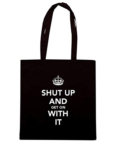 Borsa Shopper Nera TKC4082 KEEP CALM AND SHUT UP AND GET ON WITH IT