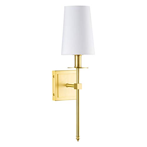 Torcia Wall Sconce 1-Light Fixture with Fabric Shade - Brushed Brass - Linea di Liara - Sconce Wall Gold Antique