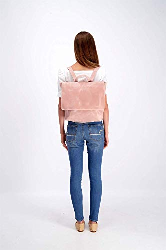Leather Backpack with Zipper, Women's Laptop Handbag Gift for Student, Mother or Wife, Diaper Bag, Minimalist Light Pink Purse Shoulder Bag Handmade by Mayko