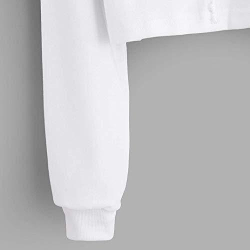 Tunique élégants Sweat Imprimé 3xl Top shirt Blouse élégante Zhrui avec sport pour capuche Vêtements femmes couleur blanc Blanc de Taille court BZvdqgw