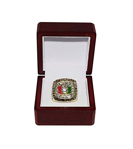 UNIVERSITY OF MIAMI HURRICANES (Gino Torretta) 1991 BCS NATIONAL CHAMPIONS Vintage Rare Collectible High-Quality Replica Football Gold Championship Ring with Cherrywood Display Box