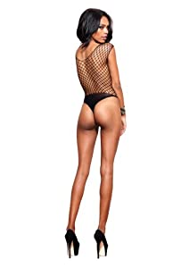 Leg Avenue Women's Seamless Diamond Net Thong Teddy with Opaque Panel Accents