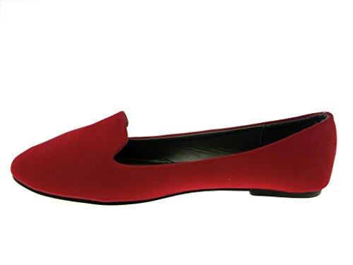 Ositos Ladies Fhj-05w Suedette Slip On Smoking Flats Rojo
