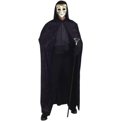 Black Panne Velvet Hooded Cape/Cloak Costume