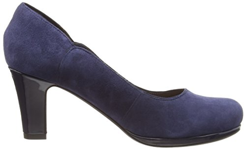 Clarks Chorus Nights - zapatos de tacón cerrados de cuero mujer Azul (Navy Suede)