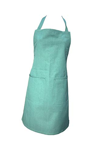 ArtiFab Kitchen Apron for Women, 100% Cotton, Jade Green Apron with Pocket & Adjustable Bib, Machine Washable, Comfortable and Easy Care (Pocket Jade Green)