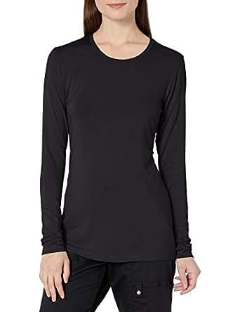Cherokee Womens 4881 Long Sleeve Knit Shirt Long Sleeve Medical Scrubs Shirt - Black - X-Small