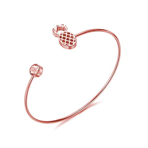 (CHUYUN Plant Pineapple Open Bangle Bracelet Fshion Accessories Brass Copper Casting Crystal Jewelry (Rose Gold))