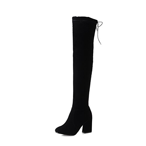 BalaMasa Womens High-Heel Zipper Solid Above-The-Knee Pointed-Toe Suede Boots ABL09728 Black Bwgiq