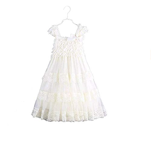 2016 lace Flower Rustic Burlap Girl Baby Country Wedding Flower Dress (6M(XXS), Ivory)