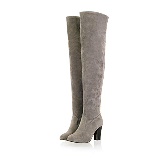 T-JULY Women's Slim Boots Sexy Over The Knee High Suede Shoes Fashion Winter Thigh High Boots Long Boots Plus Size 34-45 Grey ()
